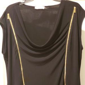 Calvin Klein Zipper Short Sleeve Blouse